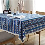 Bringsine Washable Cotton Linen Lace Bohemian Style Geometric Design Rectangle Tablecloth Dinner Picnic Table Cloth Home Decoration Assorted Size(Rectangle/Oblong, 55 x 71 Inch)