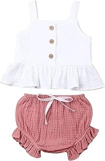 FOCUSNORM Toddler Kids Baby Girl Cotton Ruffle Halter Tank Top+ Bowknot Shorts Outfits 2PCS Set