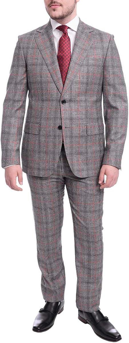 Napoli Slim Fit Black & White Glen Plaid Two Button Wool Suit