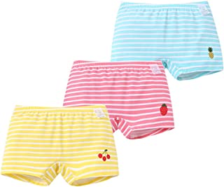 Ding-dong Toddler Kids Girls Striped Boxer Brief Cotton 3 Pack Underwear