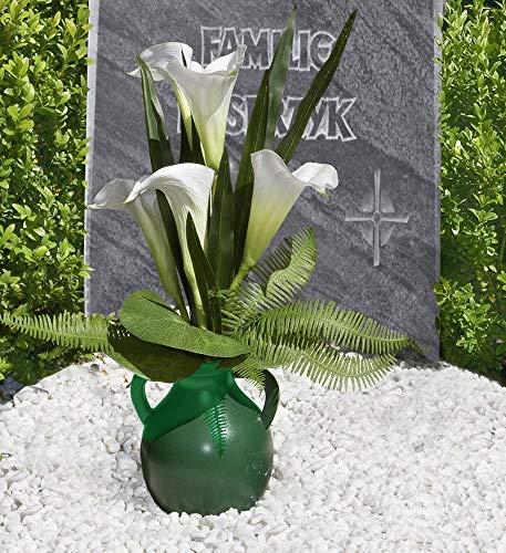 Grabvase Grab Friedhof Vase Amphore grün Steckgewinde Steckvase Grabdeko von WENKO