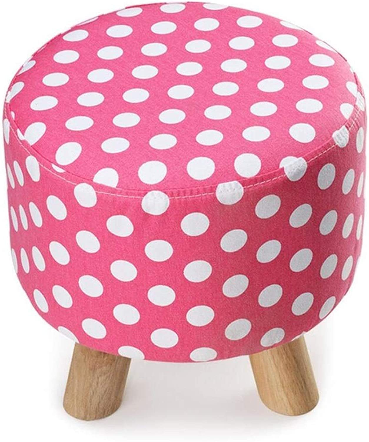 Dengzi Three-Legged Small Stool Removable and Washable shoes Stool European Fabric Sofa Bench shoes shoes Low Stool Solid Wood pier (color   Pink)