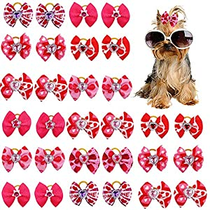 Masue Pets 20pcs/10Pairs Pink Dog Bows Rhinestone Puppy Dog Hair Bows for Valentine's Day Dog Bows with Rubber Bands Gorgeous Dog Grooming Accessories