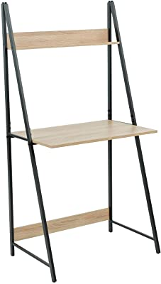 C-Hopetree Ladder Desk with Shelf - Student Study Table - Black Metal Frame.