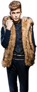 iHPH7 Men's Men Autumn Winter Coat Padded Cotton Vest Warm Hooded Thick Vest Tops Jacket