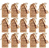 Amajoy 50PCS Small Wood Honey Dipper Sticks with Thank You Escort Card and Twine Server for Honey...