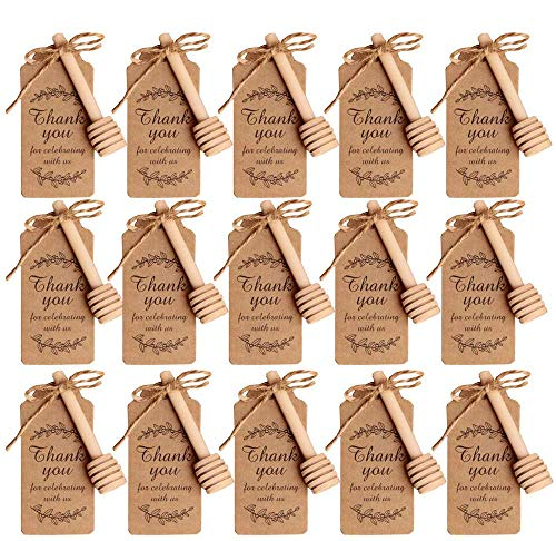 Amajoy 50PCS Small Wood Honey Dipper Sticks with Thank You Escort Card and Twine Server for Honey Jar Dispense Drizzle Honey Wedding Party Favor Baby Shower Giveaway Gift