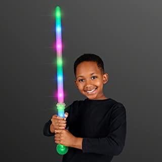 FlashingBlinkyLights Electric Glow LED Staff Space Swords with Crystal Ball Handle