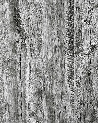 Möbel Aufkleber grau Holz Vinyl Wrap Film 45×500cm grau Holz Tapete selbstklebende Wand Aufkleber grau Holz Schälen und Stick DIY Wallpaper Cover Schrank Box Tisch abnehmbare wasserdichte Film