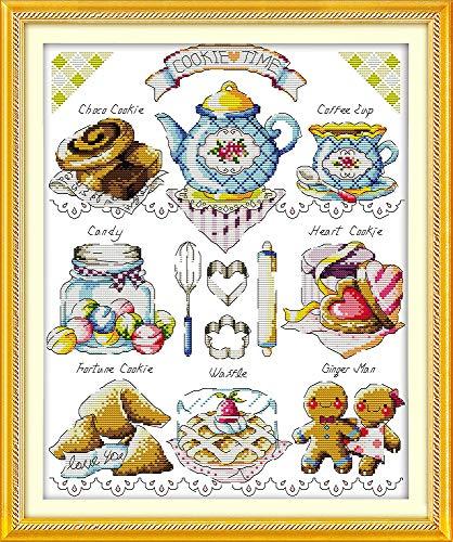 Joy Sunday Kit di ricamo a mano fai-da-te a punto croce 11CT timbrato per principianti Kit da ricamo prestampato Pattern-Tea Cake