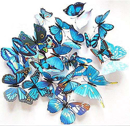 Oblique Unique 3D Schmetterlinge Blumen 12er Set Dekoration Wandtattoo (Alive (blau))