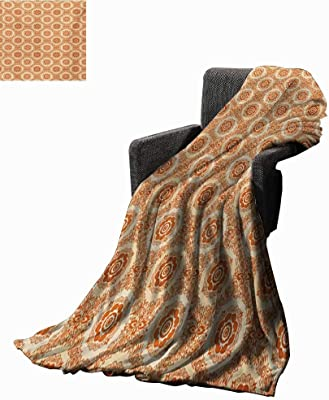 Orange and Beige Digital Printing Blanket Ornamental Baroque Leaves and Flowers Victorian Vintage Pattern,Super Soft and Comfortable,Suitable for Sofas,Chairs,beds