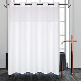 No Hooks Needed Fabric Shower Curtain or Liner with Window,71x74 inch,White,Hotel Grade, Water Repellent