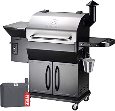 Z GRILLS ZPG-1000E 2020 New Model Wood Pellet Grill & Smoker, 8 in 1 BBQ Grill Auto Temperature Control, 1060 Sq in Stainless with Cabinet