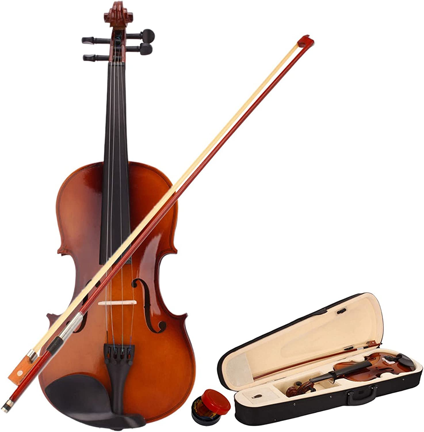 New 4 Acoustic Violin Case Bow Rosin Boston Mall Natural Sales for sale Set Aff -