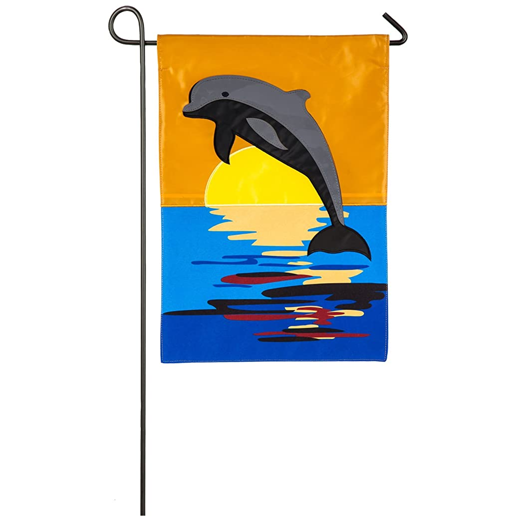 Evergreen Dolphin Sunset Outdoor Safe Double-Sided Applique Garden Flag, 12.5 x 18 inches