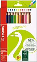 Colouring Pencil - STABILO GREENtrio Thick Wallet of 12 Assorted Colours