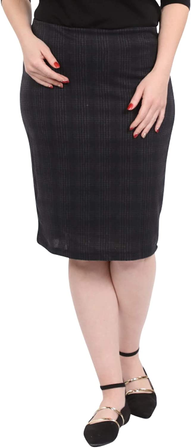 Kosher Casual Women's Modest Past The Knee Glen Plaid Double Layer Fabric Fitted Pencil Skirt