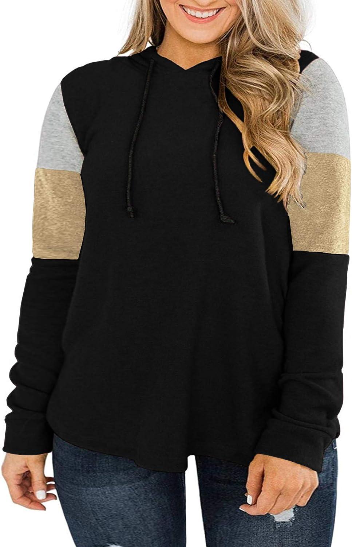 DOLNINE Womens Plus-Size Hoodies Long Sleeve Sweatshirts Color Block Tops