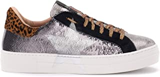 Nira Rubens Woman's Martini Sneaker in Silver Sequins with Star