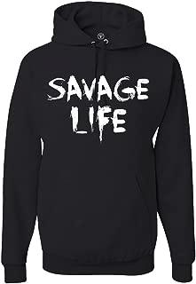 Victory Ink Men's Savage Life Hoodie Athletic Sports Pullover Hooded Sweatshirt