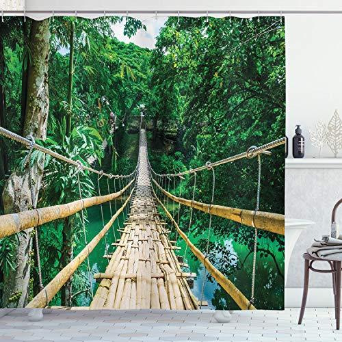 ABAKUHAUS Tropical Cortina de Baño, Río del Bosque de bambú, Material Resistente al Agua Durable Estampa Digital, 175 x 180 cm, Verde Beige