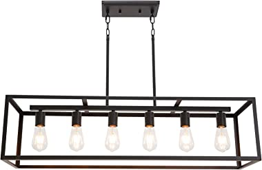 6 Light VINLUZ Classic Kitchen Island Pendnat Light Oil Rubbed Bronze Linear Adjustable Rectangle Chandelier for Dining Room Kitchen