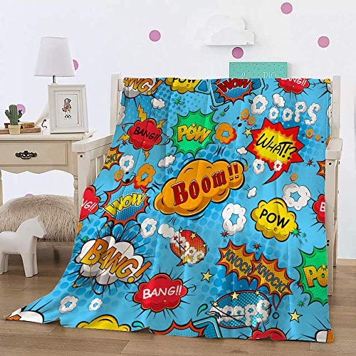 Flannel Fleece Throw Blanket,Superhero Colorful Comic Style Icons Effects Boom Scream Magazine Signs Pop Art Illustarion,Super Soft Cozy Lightweight Comfort Warm for Adult Kids50X40in(127x103cm)