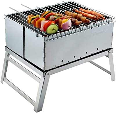 Amazon.com: Parrilla de carbón de acero inoxidable plegable ...