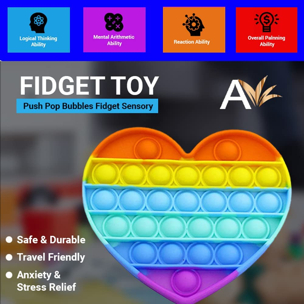Pop Pop Fidget Toys Great for Kids with Anxiety and Stress Reliever Avilana Silicone Fidget Toy Push Pop Bubbles Fidget Sensory Toy for Stress Relieve Autism 1 Pack-Circle Yellow