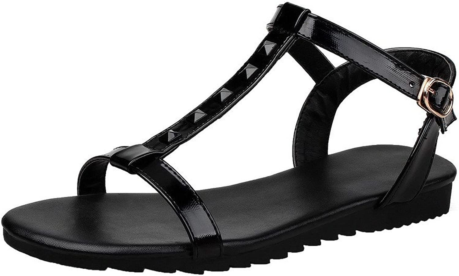 WeiPoot Women's Open Toe Low-Heels Buckle Solid Sandals