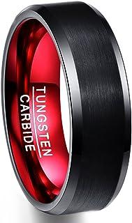 خاتم NUNCAD للرجال من كربيد التنجستين الأسود والأحمر بلمسة نهائية مصقولة مقاس 7 إلى 12