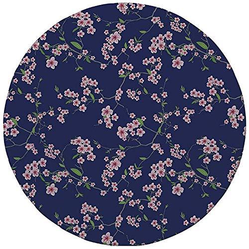 Rubber ronde muismat, marine en blozen, bloeiende Sakura kersentakken Chinese Aziatische Kimono patroon, Violet Blauw Groen Roze