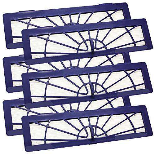 6 Stück XL Mikro High Performance Hochleistungs Hepa Filter Violett ohne Soft-Entriegleung für die Neato Botvac Typen 70, 70E, 75, 75E, 85, 85E, BotVac Serie, BotVac D Serie, BotVac Connected