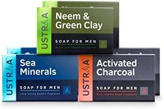 Ustraa Deo Soap with Sea Minerals, Activated Charcoal and Neem & Green Clay, 100 g (Pack of 6)