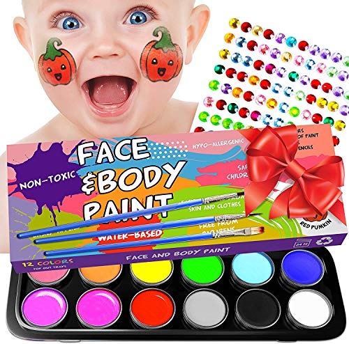 Face Painting Kits for Kids-36 Stencils,12 Large Nontoxic Water Based Face Paint 3 Brushes - Professional Halloween Makeup Palette with Bonus E-Book