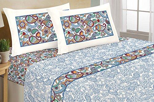 Completo Lenzuola 100% Cotone - Disegno Cashmere Fiore (Multicolor, Matrimoniale)