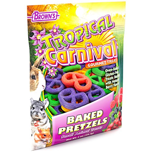 F.M. Brown'S Tropical Carnival Baked Pretzels Treat For Small Animals, 2-Oz Bag - Gluten Free Chewing Treat For Improved Tooth And Gum Health