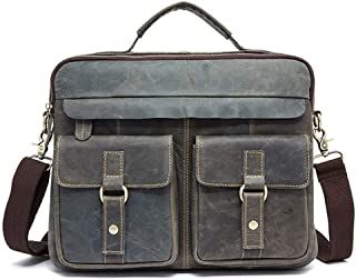 Genuine Leather Men's Bags Retro Men's One-Shoulder Bags with Head Covering Cowhide Leather Briefcase for Men (Color : Gray, Size : S)