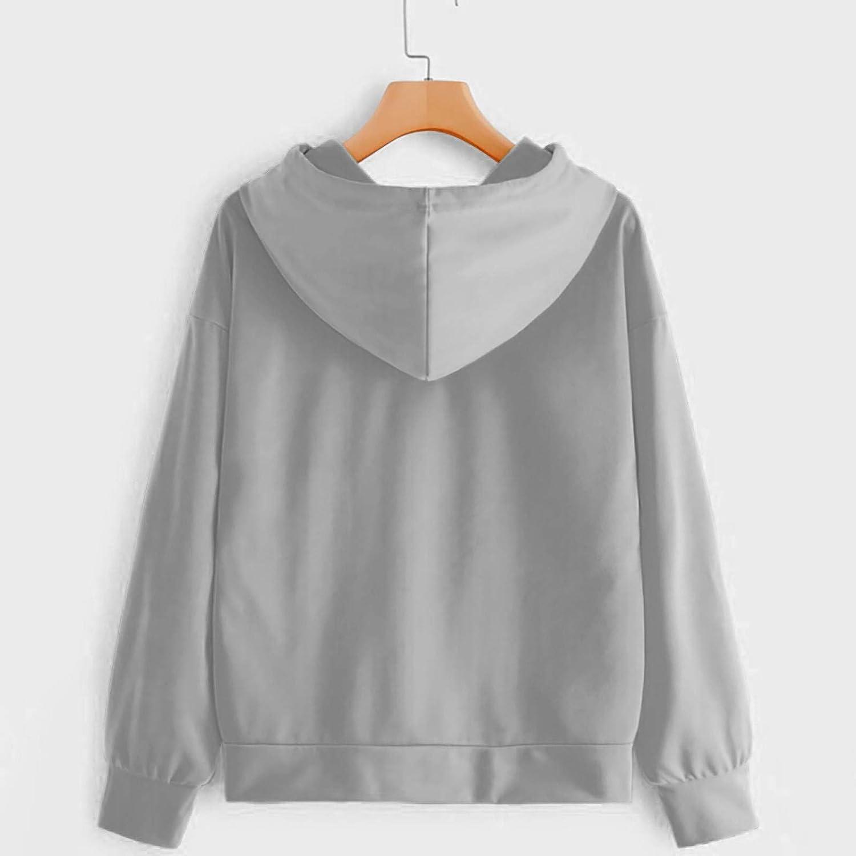 JSPOYOU Women's Teen Girls Heart Print Long Sleeve Hoodies Casual Loose Sweaters Hooded Sweatshirts Pullover Tops Shirts