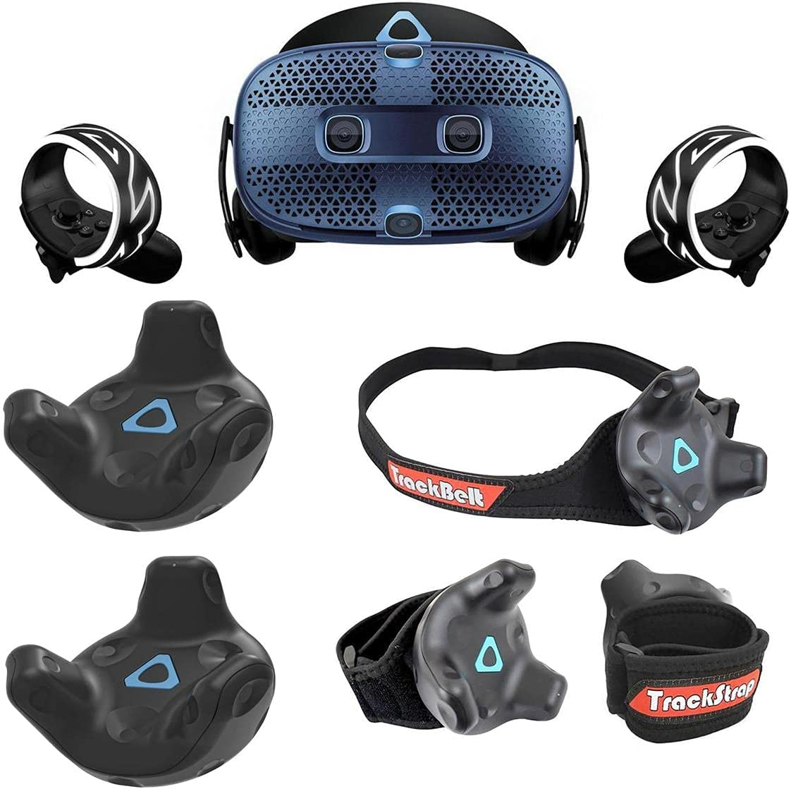 HTC Vive Cosmos PC Based VR Headset System - Bundle with 2 Pack Vive Tracker for VR Headset, Rebuff Reality TrackBelt + 2 TrackStraps Full Body Tracking VR Bundle, Black