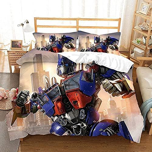 YSSMGS Juego de funda de edredón Transformers, juego de cama Optimus de Transformers, juego de funda nórdica para ciencia fii, suave y cómodo, microfibra (Trans4, 140 x 210 cm + 80 x 80 cm x 2)