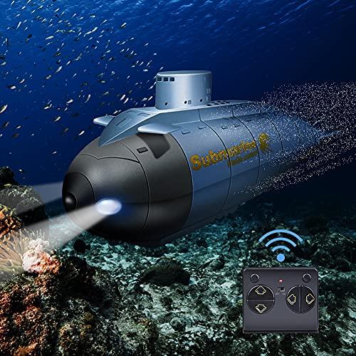 JIESEN Mini submarino teledirigido con mando a distancia inalámbrico de 6 canales en forma de cohete, juguete de alta velocidad 2,4 GHz para adultos y niños a partir de 5 años