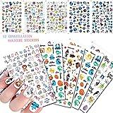 12 Sheets Constellation Nail Art Stickers Decals, 3D Self-Adhesive Zodiac Sign Sagittarius/Aries Cartoon Elements Nail Design for Acrylic Nail Supplies DIY Nail Decorations for Women Girls