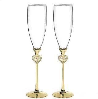 Hortense B. Hewitt Wedding Accessories Jeweled 50th Anniversary Champagne Flutes, Set of 2
