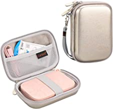 Canboc Shockproof Carrying Case Storage Travel Bag for HP Sprocket Portable Photo Printer and (2nd Edition) / Polaroid Zip Mobile Printer/Lifeprint 2x3 Portable Protective Pouch Box,Silver/Golden