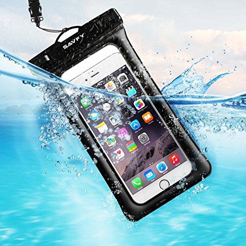 SAVFY Flotante Funda Bolsa Móvil Impermeable, Universal 7 Pulgadas Certificado IPX8 (10m de Profundidad) para iPhone 6S / 6S Plus/SE, Samsung Galaxy S7 Edge / S6 Edge etc (Negro)