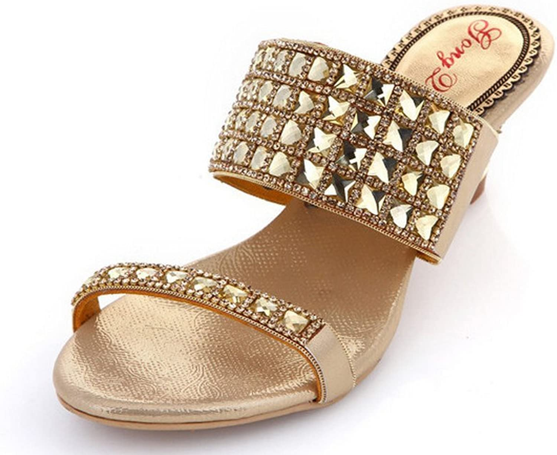 Abby AMN-T050 Womens Ladies Comfort Rhinestone Mid Heel Slip on Slippers