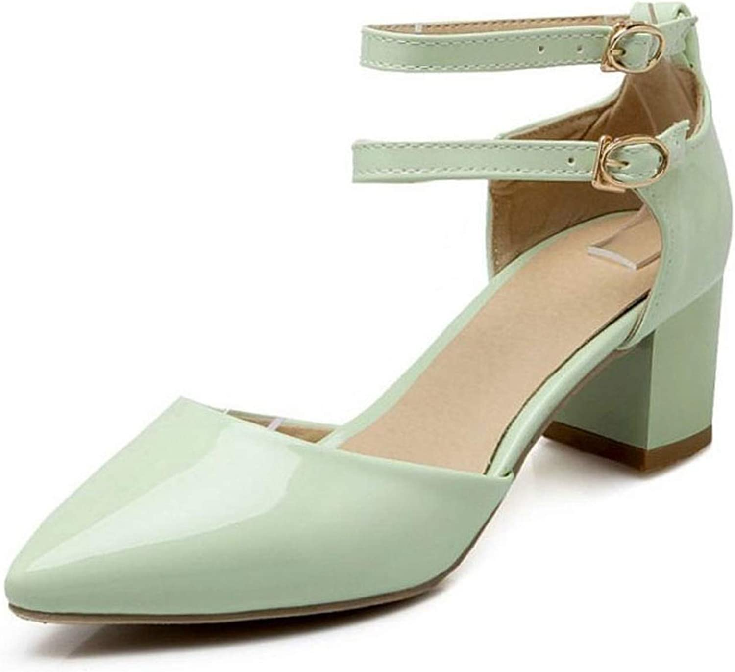 Fairly Elegant High Heel Ankle Strap Pointed Toe Thick Heel Summer Party shoes Sandal,Green,10