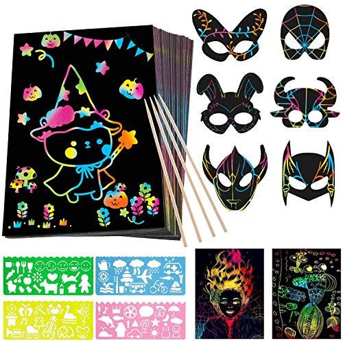 ZWOOS Scratch Art Paper, 50 Hojas Dibujo Scratch Láminas/Cuadernillos para Rascar Scratch Art Paper Notebook con 6 Máscaras, 6 Estilográficas de Madera y 4 Reglas de Dibujo